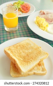Slice toast bread with breakfast