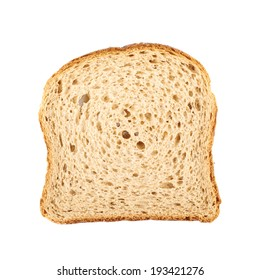 Slice of the toast bread isolated over the white background, top view