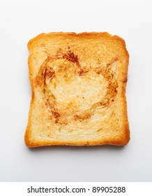 a slice of toast on white