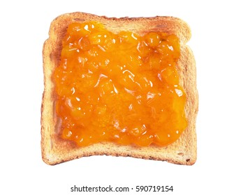 Slice of toasted bread with apricot jam isolated on a white background, top view