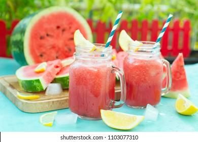slice of watermelon and fresh watermelon juice