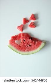slice of watermelon. hearts of watermelon