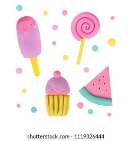 slice of watermelon, ice cream, candy, capcake from plasticine