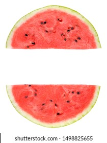 Slice of watermelon isolated on white background. Two Half pieces of watermelon with copy space.