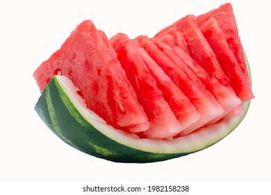 Slice of watermelon white background