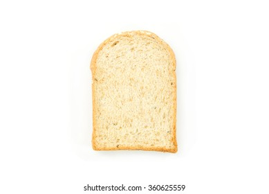 slice of white bread isolated on white background.