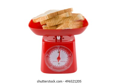 slice of white bread on kitchen scales with copy space isolated on white