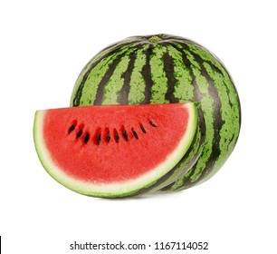 A slice and a whole of watermelon isolated on white background