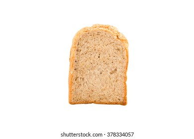 slice of whole wheat bread on white background with clipping path.