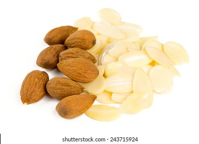 sliced almond isolated on white