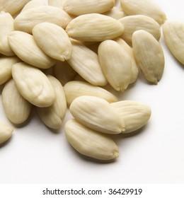 Sliced almonds tipe fascionello on white