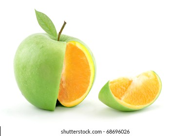 Sliced apple with genetically modified orange center