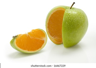 Sliced apple with moisture and an orange center