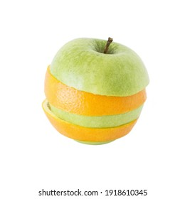 sliced apple and orange stacked