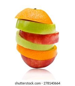 Sliced apples and orange fruit isolated on white background