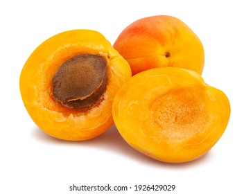 sliced apricot path isolated on white