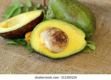 A sliced avocado