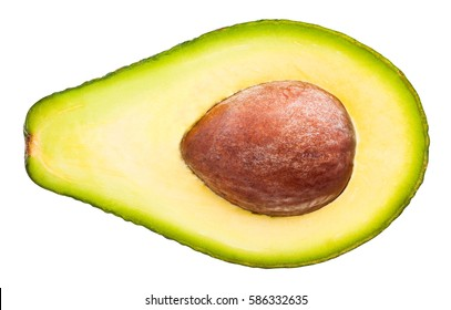 sliced avocado isolated