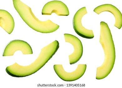 sliced avocado isolated on white background. top view