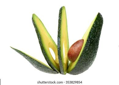 sliced avocado isolated on white background