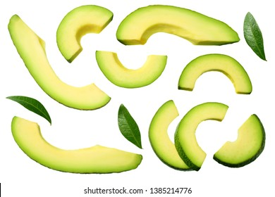 sliced avocado with leaves isolated on white background. top view