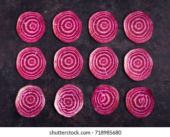 Sliced  beetroot pattern on grunge  background, top view
