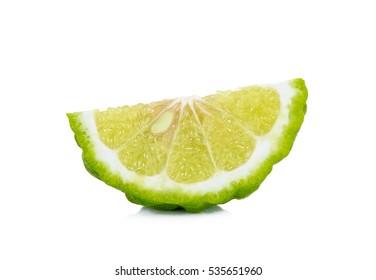 Sliced bergamot isolated on the white background.