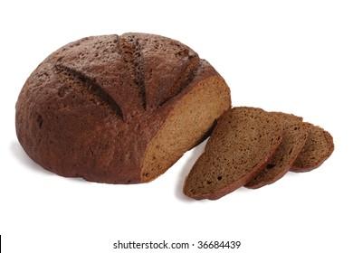 Sliced black bread on the white background