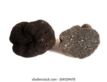 sliced black truffe (tuber melanosporum) isolated on white