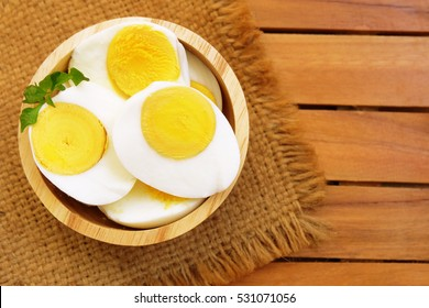 Sliced boiled eggs