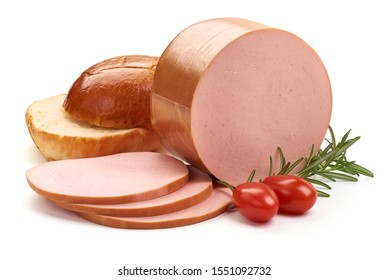 Sliced boiled pork sausage, isolated on white background.