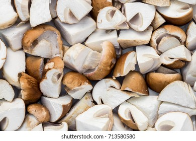 Sliced boletus mushrooms texture