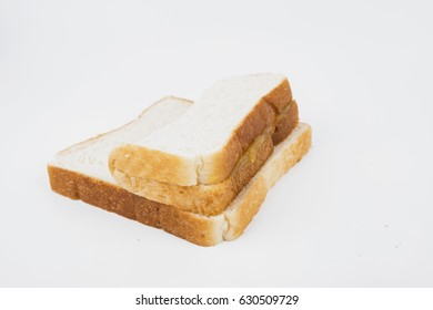sliced bread with coconut jam isolated white background