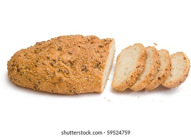 The sliced bread and crumbs around