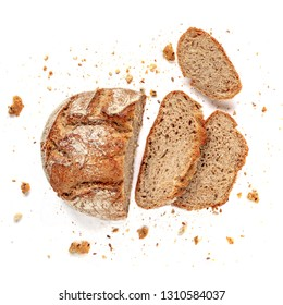 Sliced bread isolated on  white background. Fresh Bread slices close up. Bakery, food concept. Top view