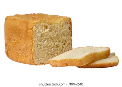Sliced bread loaf isolated over white background