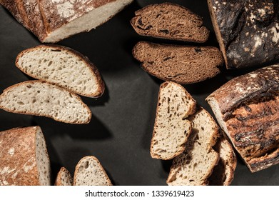 sliced bread with on a dark background