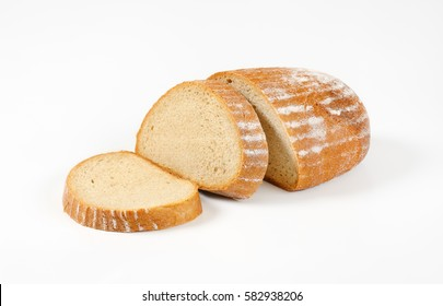 Sliced bread on a white background