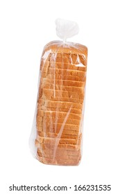 Sliced bread in plastic bag isolated on white.