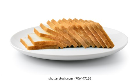 sliced bread in a plate isolated on a white background