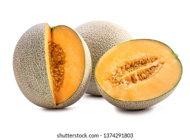 Sliced cantaloupe - Close up, clipping path, cut out. Beautiful tasty fresh ripe rock cantaloup melon fruit with seeds isolated on white background.