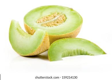 Sliced Cantaloupe Isolated on White Background