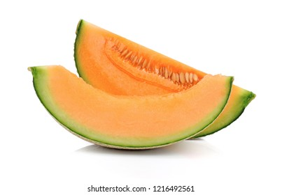 sliced cantaloupe melon isolated on white background