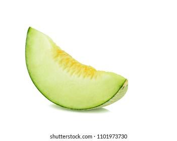 Sliced Cantaloupe melon on White Background