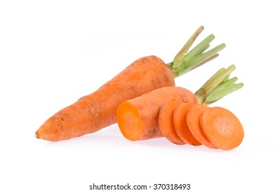 Sliced of carrot isolated on white background