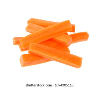 Sliced of Carrot , Julienne style isolated on white background.