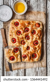 Sliced Cherry Tomato, Rosemary and Garlic Focaccia, copy space for your text