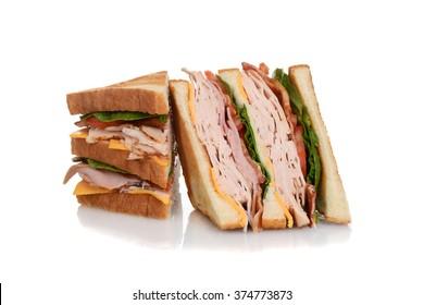 sliced chicken club sandwich