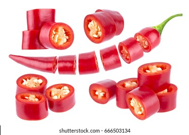 Sliced chili pepper. Cut red hot chili pepper isolated on white background