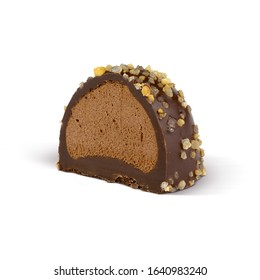 Sliced Chocolate candy with caramel filling and topping